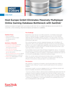 Host Europe GmbH Eliminates Massively Multiplayer Online Gaming Database Bottleneck